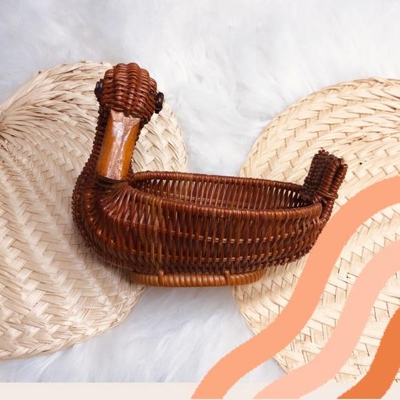 Vintage wicker boho woven small duck basket